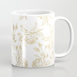 Vintage white faux gold roses floral Coffee Mug