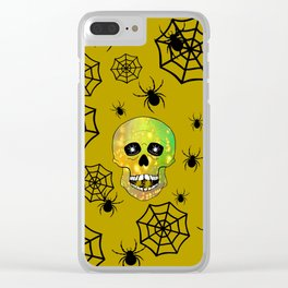 Spider Skull -  Happy Halloween Clear iPhone Case