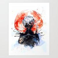 tokyo ghoul Art Prints featuring Tokyo Ghoul - Kaneki Ken by Kayla Phan