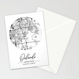 Orlando Area City Map, Orlando Circle City Maps Print, Orlando Black Water City Maps Stationery Cards