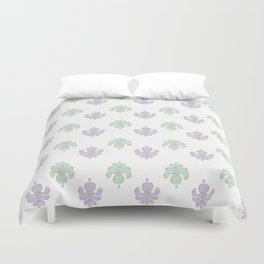 Bodoni: Aqua and Lilac Duvet Cover