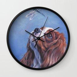 Beautiful Blenheim Cavalier King Charles Spaniel Dog Painting by L.A.Shepard Wall Clock