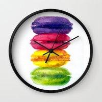 macaroons Wall Clocks featuring Macaroons by AnaStasiaartdesign
