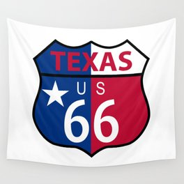 Route 66 Texas Sign And Flag Wall Tapestry
