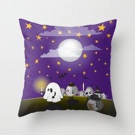 halloween hedgehogs party gang Throw Pillow