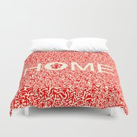 lesbian Duvet Covers featuring Home:家 by aPersonalidea