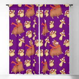 Cute happy llamas and funny whimsical mushrooms seamless fall and winter season pattern design Blackout Curtain