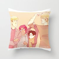 snk Throw Pillows featuring SNK Buddies by rhymewithrachel