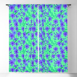 Beautiful girly spring purple flowers, delicate leaves floral fabric teal green feminine pattern Blackout Curtain