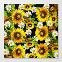 sunflowers Canvas Prints featuring Sunflowers by Saundra Myles