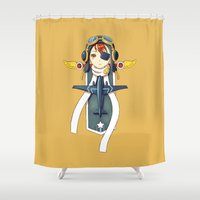 pilot Shower Curtains featuring Pilot Banner by Freeminds