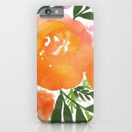 Orange Watercolor Roses iPhone Case