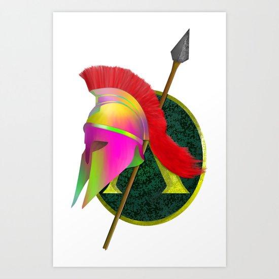 Spartan Helmet Colorful Art Print