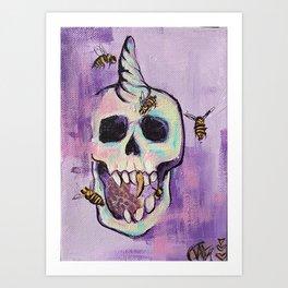Skull&Bees Art Print
