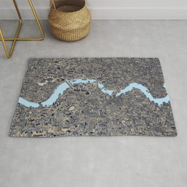 London color map city drawing illustration Thames Rug