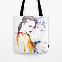 beth hoeckel Tote Bags featuring Beth by Amy Jane Eaton