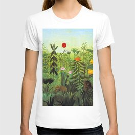 """Henri Rousseau """"Exotic Landscape with Lion and Lioness in Africa"""" T-shirt"""