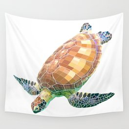 The Green Sea Turtle (Colored) Wall Tapestry