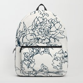 Navy and Cream Vintage Chinoiserie Botanical Floral Toile Wallpaper Pattern Backpack