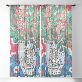 Rex Manning Day Red Floral Still Life with Lion Vase Sheer Curtain