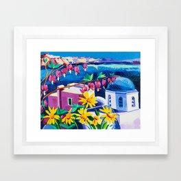 Santorini churches Framed Art Print