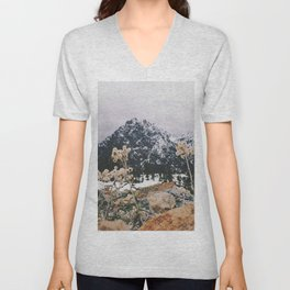 Mountains + Flowers Unisex V-Neck