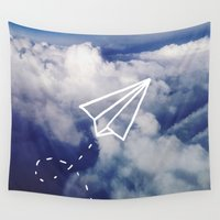 plane Wall Tapestries featuring Paper Plane by Leah Flores