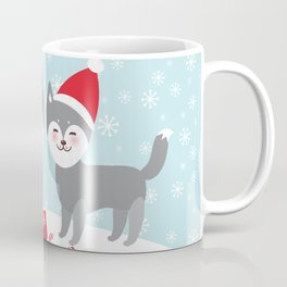 Merry Christmas New Year's card design funny gray husky dog in red hat, Kawaii face with large eyes Coffee Mug