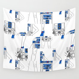 Robot Girl Cubism Wall Tapestry