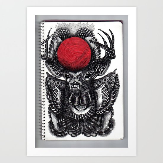 DEER & BALL OF RED YARN // BIS EXIT// Art Print
