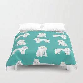 Toy poodle white poodles dog breed pet portrait pattern gifts pet friendly Duvet Cover