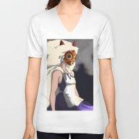 mononoke V-neck T-shirts featuring Mononoke by Oda Oda