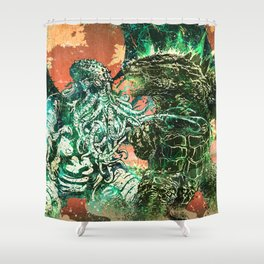Cthulhu vs Godzilla Shower Curtain