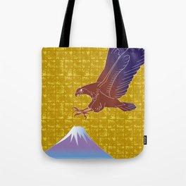 Eagle and Mt,Fuji on Gold-leaf Screen Tote Bag