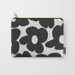 Black Retro Flowers White Background #decor #society6 #buyart Carry-All Pouch
