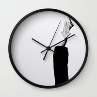 home sweet home Wall Clocks featuring home sweet home 02 by Tom Kitchen
