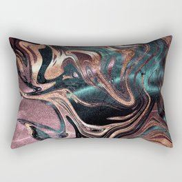 Metallic Rose Gold Marble Swirl Rectangular Pillow