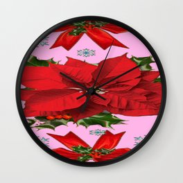 POINSETTIA SNOWFLAKES HOLLY HOLIDAY PINK DESIGN Wall Clock