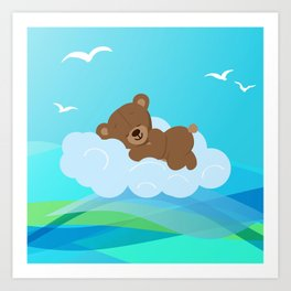 Teddy Bear & clouds , Nursery Art Print