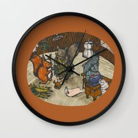 sewing Wall Clocks featuring Sewing Room by Kelsey Oseid