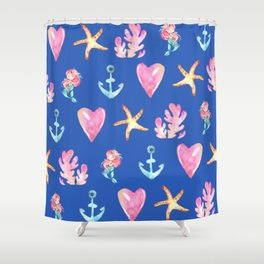 Beautiful Mermaid Theme Pattern Cute Gift for Girls Starfish Hearts Anchor Mermaid Shower Curtain