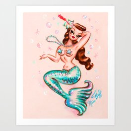 Pinup Mermaid with Pearls Art Print