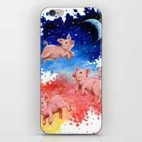 pigs iPhone & iPod Skins featuring 3 Pigs by Priscilla George