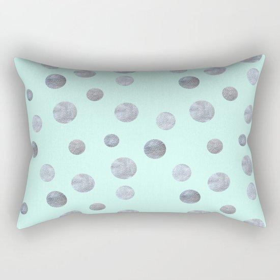 Silver dots on mint Rectangular Pillow
