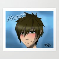 iwatobi Art Prints featuring Free! Iwatobi Swim Club: Makoto by herpyderpymegu