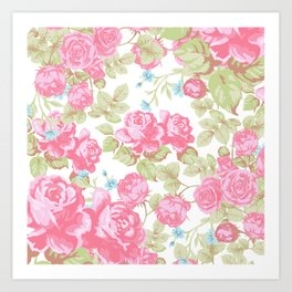Vintage pink white watercolor country chic floral Art Print