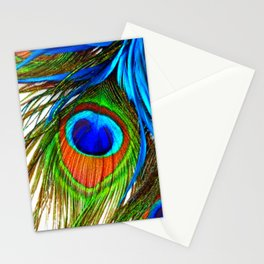 BLUE PEACOCK EYE FEATHER DESIGN Stationery Cards