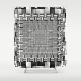 Black & White Basket Weave Shower Curtain