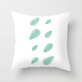 Green Scalloped Leaves Illustration Throw Pillow
