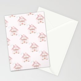 Cute little house cross stitch - light pink Stationery Cards